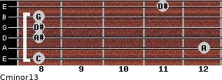 Cminor13 for guitar on frets 8, 12, 8, 8, 8, 11
