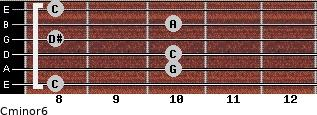 Cminor6 for guitar on frets 8, 10, 10, 8, 10, 8