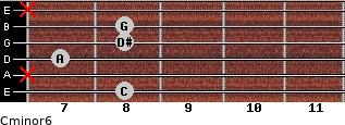 Cminor6 for guitar on frets 8, x, 7, 8, 8, x