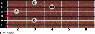 Cminor6 for guitar on frets x, 3, x, 2, 4, 3