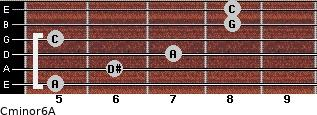 Cminor6\A for guitar on frets 5, 6, 7, 5, 8, 8