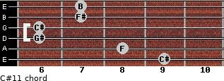 C#11 for guitar on frets 9, 8, 6, 6, 7, 7