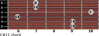 C#11 for guitar on frets 9, 9, 6, 10, 7, 7