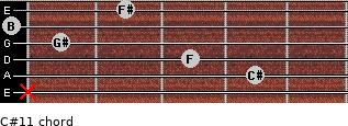 C#11 for guitar on frets x, 4, 3, 1, 0, 2