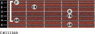 C#11/13/Ab for guitar on frets 4, 1, 4, 4, 2, 1