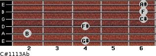 C#11/13/Ab for guitar on frets 4, 2, 4, 6, 6, 6