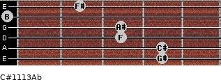 C#11/13/Ab for guitar on frets 4, 4, 3, 3, 0, 2