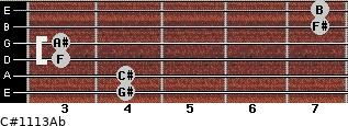 C#11/13/Ab for guitar on frets 4, 4, 3, 3, 7, 7