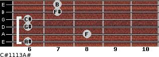 C#11/13/A# for guitar on frets 6, 8, 6, 6, 7, 7