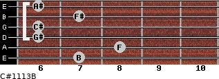 C#11/13/B for guitar on frets 7, 8, 6, 6, 7, 6