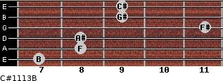 C#11/13/B for guitar on frets 7, 8, 8, 11, 9, 9