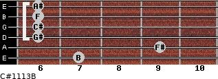 C#11/13/B for guitar on frets 7, 9, 6, 6, 6, 6