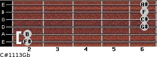 C#11/13/Gb for guitar on frets 2, 2, 6, 6, 6, 6