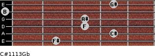C#11/13/Gb for guitar on frets 2, 4, 3, 3, 0, 4