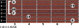 C#11/13b5/B for guitar on frets 7, 4, 3, 3, 7, 3