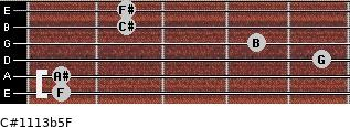 C#11/13b5/F for guitar on frets 1, 1, 5, 4, 2, 2