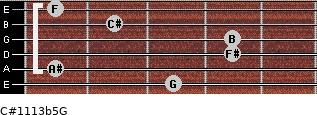 C#11/13b5/G for guitar on frets 3, 1, 4, 4, 2, 1