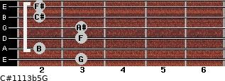 C#11/13b5/G for guitar on frets 3, 2, 3, 3, 2, 2