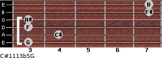 C#11/13b5/G for guitar on frets 3, 4, 3, 3, 7, 7