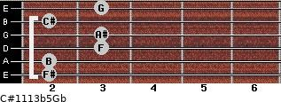 C#11/13b5/Gb for guitar on frets 2, 2, 3, 3, 2, 3