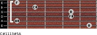 C#11/13#5/A for guitar on frets 5, 1, 4, 4, 2, 1
