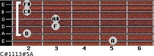 C#11/13#5/A for guitar on frets 5, 2, 3, 3, 2, 2