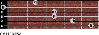 C#11/13#5/A for guitar on frets 5, 4, 3, 3, 0, 2