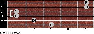 C#11/13#5/A for guitar on frets 5, 4, 3, 3, 7, 7