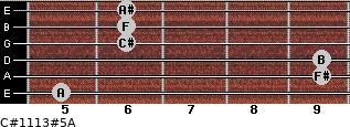 C#11/13#5/A for guitar on frets 5, 9, 9, 6, 6, 6