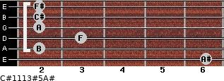 C#11/13#5/A# for guitar on frets 6, 2, 3, 2, 2, 2