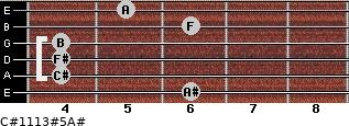 C#11/13#5/A# for guitar on frets 6, 4, 4, 4, 6, 5