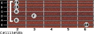 C#11/13#5/Bb for guitar on frets 6, 2, 3, 2, 2, 2