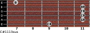 C#11/13sus for guitar on frets 9, 11, 11, 11, 11, 7