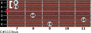 C#11/13sus for guitar on frets 9, 11, 8, x, 7, 7