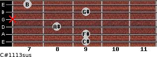 C#11/13sus for guitar on frets 9, 9, 8, x, 9, 7