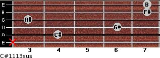 C#11/13sus for guitar on frets x, 4, 6, 3, 7, 7