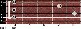 C#11/13sus for guitar on frets x, 4, 8, 4, 7, 4