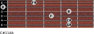 C#11/Ab for guitar on frets 4, 4, 3, 4, 0, 2