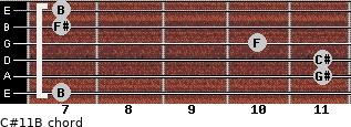 C#11/B for guitar on frets 7, 11, 11, 10, 7, 7