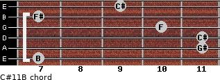 C#11/B for guitar on frets 7, 11, 11, 10, 7, 9