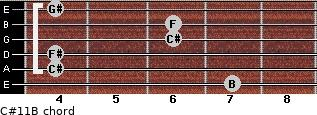 C#11/B for guitar on frets 7, 4, 4, 6, 6, 4