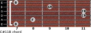 C#11/B for guitar on frets 7, 8, 11, 11, 9, 7