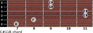 C#11/B for guitar on frets 7, 8, 11, 11, 9, 9