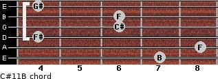 C#11/B for guitar on frets 7, 8, 4, 6, 6, 4