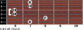C#11/B for guitar on frets 7, 8, 6, 6, 7, 7