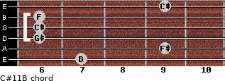 C#11/B for guitar on frets 7, 9, 6, 6, 6, 9