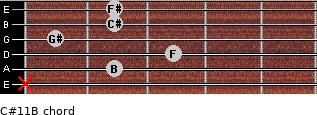 C#11/B for guitar on frets x, 2, 3, 1, 2, 2