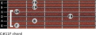 C#11/F for guitar on frets 1, 2, 4, 1, 2, 2