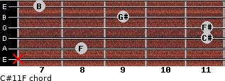 C#11/F for guitar on frets x, 8, 11, 11, 9, 7