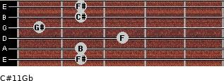 C#11/Gb for guitar on frets 2, 2, 3, 1, 2, 2